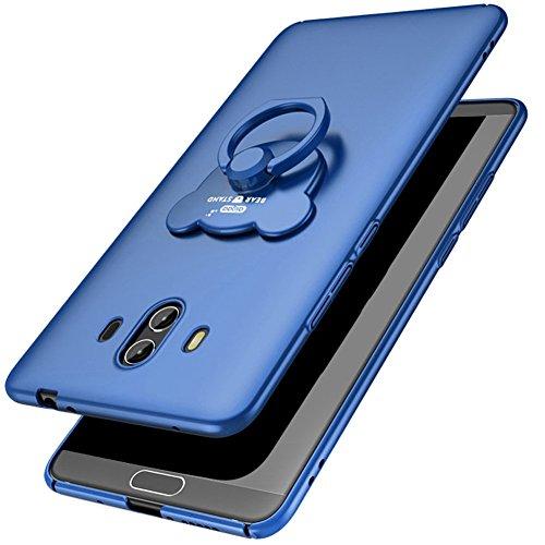 Carcasa Huawei Mate 10, Huawei Mate 10 Funda Silicona, EUWLY Ultrafina Original Cáscara del Teléfono Móvil PC Silicona Funda con Soporte Oso Anillo Protectora Parachoques Trasero Cubierta Ultra Delgad Oso Anillo,Azul