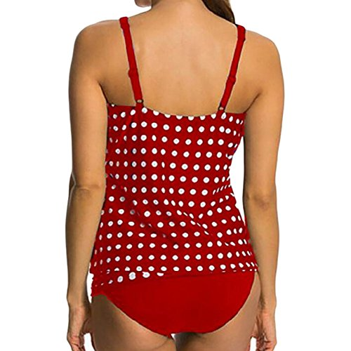 Scothen Señoras acolchado bikini conjunto bandas piezas arriba bikini traje baño tankini playa de baño ropa bikini traje raya de los pantalones+empuja hacia arriba parte superior bikini playa Red