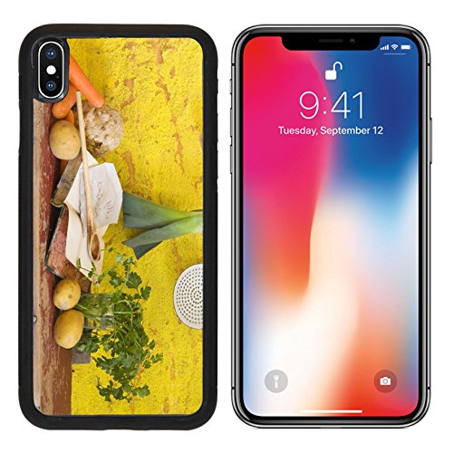 MSD Premium Apple iPhone X Aluminum Backplate Bumper Snap Case vegetables for the soup vintage kitchen utensils cookbook slow food IMAGE 19317113