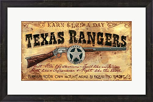 (Texas Rangers by Red Horse Signs Framed Art Print Wall Picture, Espresso Brown Frame, 26 x 17 inches)
