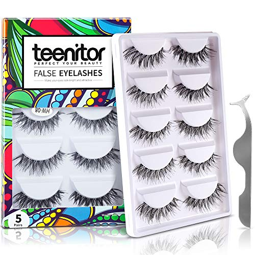 - Teenitor 10 Pair Crisscross False Eyelashes Lashes, Nature Looking Fake Eyelashes Set For Women Girls, Comes With Free Fake Eyelash Applicator