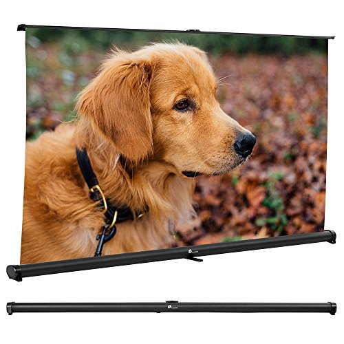 Projector Screen, Indoor Outdoor Portable Movie Screen 52 Inch Pull Down Diagonal 16:9 HD Projection Manual with Auto Lock, Table-Top Matte White Fabric for Home Theater Cinema Office Presentation by Houzetek