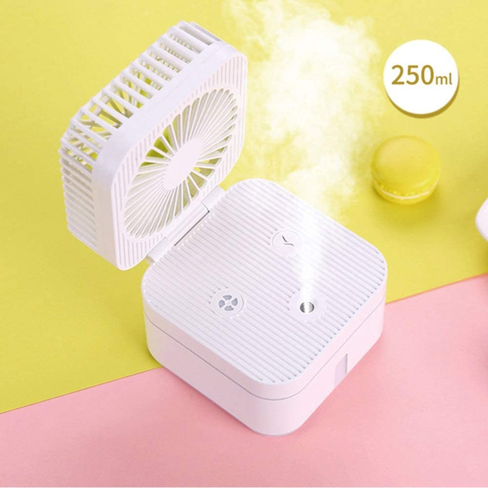 Jajx-comac USB Personal Desk Fan Magic Cube Fan Humidifiers Mini Home Office Portable 3 Modes for Home Office Bedroom Outdoor Travel for Home Office Table Color : White, Size : One Size