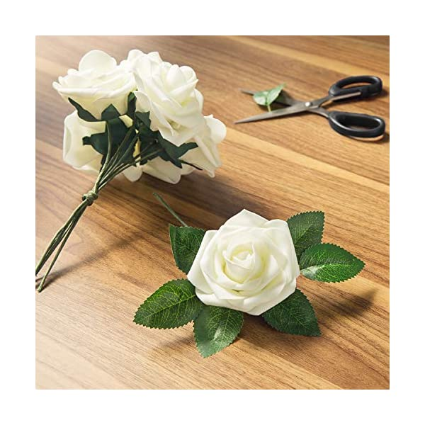 MoonLa Artificial Flowers Ivory Roses 50pcs Real Looking Fake Flowers Foam Roses w/Stem DIY Wedding Bouquets Centerpieces Baby Shower Party Home Decorations