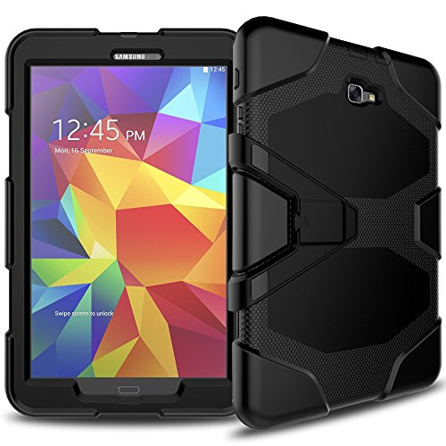 ArtSet Case for Samsung Galaxy Tab E 8.0,Kickstand Armor Rugged Sturdy Shockproof Heavy Duty Durable Protective Cover With Screen Protector for Galaxy Tab E 8.0 T375/T377 2016 Tablet - Black
