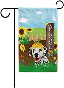 BAGEYOU Welcome Summer Sunflower Dog Garden Flag Dalmatian Playing on a Country Farm Butterfly Flowers Decor Banner for Outside 12.5x18 Inch Print Double Sided