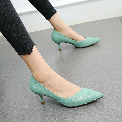 con scarpe bocca delle alti punta scarpe alla a temperamento moda tacchi YMFIE da Belle lavoro dei superficiale A signore 0fwqx5