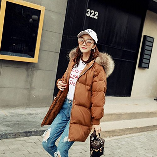 Long Paragraph Fashion down Lady down Brown Warm Collar coffee Fur Winter Loose Jacket Jacket Jacket wrYXq1BY