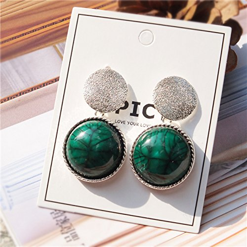 TKHNE Ode Joy same paragraph retro natural emerald green earrings carved geometric sequins fashion earrings earrings elegant ()