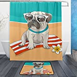 ALAZA Hawaii Puppy Pug Glasses Flower On Beach Shower Curtain Polyester Fabric Bathroom Curtain Set with Mats Rugs-12 Hooks