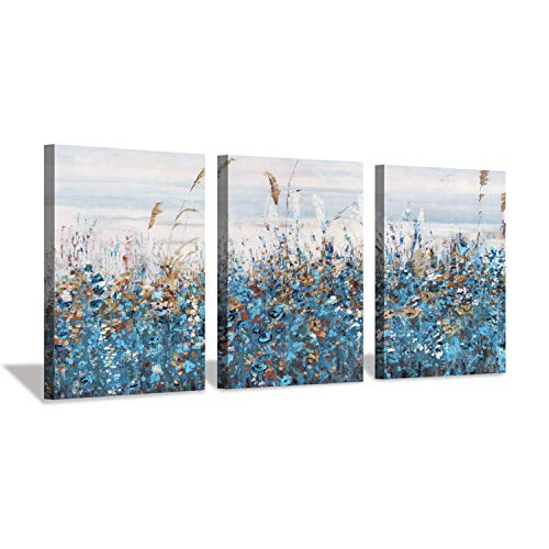 Abstract Blue Floral Wall Art: Flowers Blossom Painting Print on Canvas for Bedrooms (12