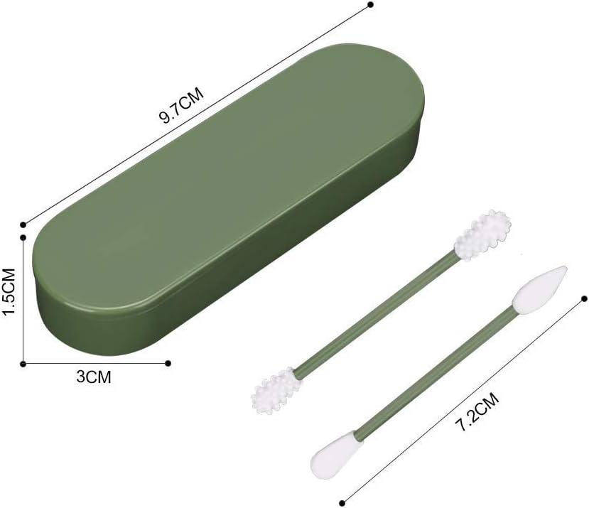 Tashido Coton-Tige R/éUtilisable Lavable,2PCS Coton Silicone Ecologiques,Coton-Tige de Nettoyage pour le Maquillage et le Nettoyage Des Oreilles Outil de Beaut/é avec /éTui de Rangement