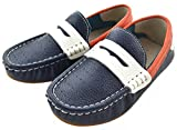 IDIFU Boy's Girl's Unisex Comfy Leather Slip On Loafers Flat Breathable Low Top Boat Shoes Blue 9 M US Toddler