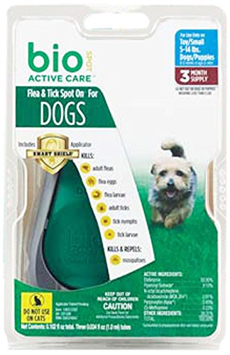 Bio Spot Active Care Flea & Tick Spot On With Applicator for Small Dogs (5-14 lbs.) Dog Topical Flea Treatment