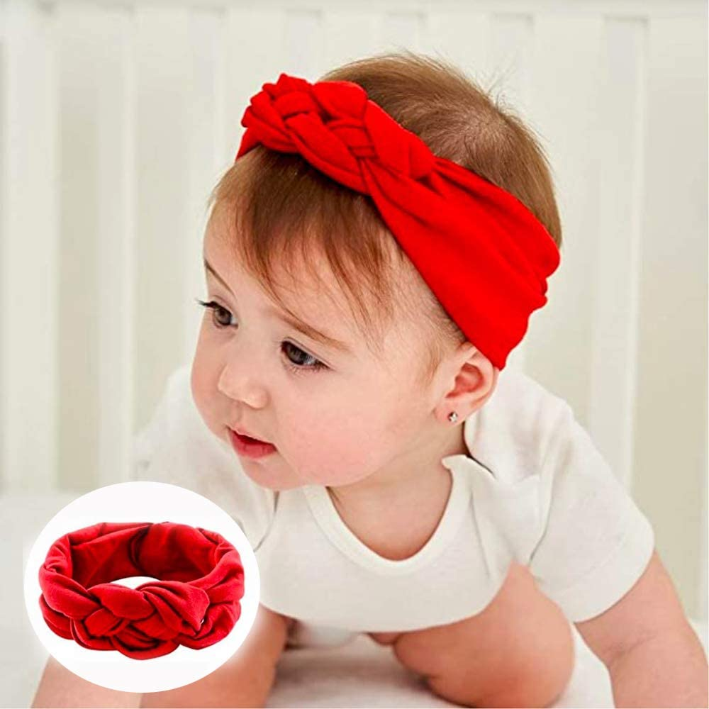 8Pcs Newborn Headband Cotton Elastic Baby Girls Turban Knotted Headband Elastic Bows Hair Band for Kids Gift as Toddler Headdress Photography Props Accessories