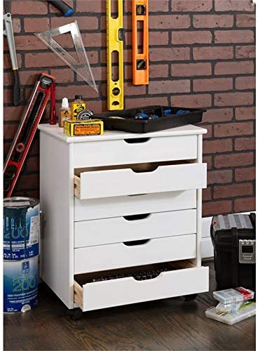 Linon Callie Six Drawer Wide Wood Rolling Cart in White Wash