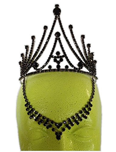 Black Fairy Tiara Medieval Gothic V Drop Gem Evil Queen Costume Accessory Witch