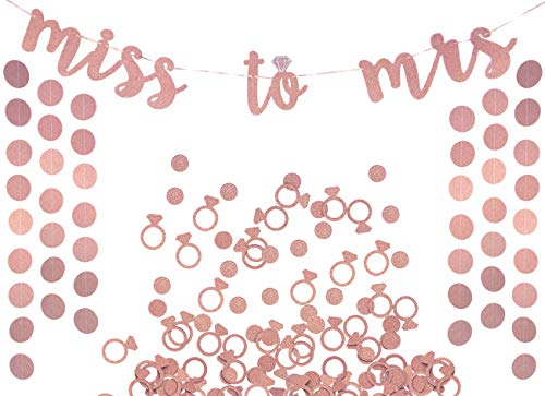 Confetti Bronze Wall - Miss to Mrs Banner, Garland & Confetti Set - Bachelorette, Engagement or Wedding Party Decorations - Sparkly Rose Gold Banner, Circle Garland & Super Fun Diamond Ring & Circle Confetti (Rose Gold)