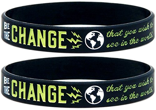 ((10-pack) Be the Change that You Wish to See in the World - Inspirational Awareness Wristbands for Any Cause - Wholesale Bulk Pack of 10 Silicone Bracelets in Unisex Adult Size)