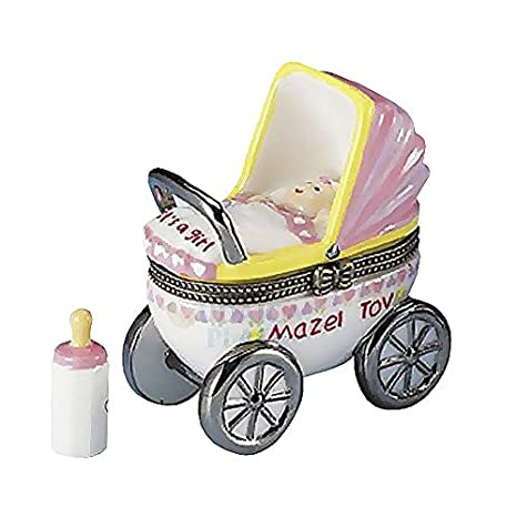 Mazel Tov Baby Hinged Box Carriage with Baby Bottle Treasure (pink) Rite Lite Ltd.