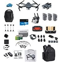 DJI Mavic PRO FLY MORE COMBO Portable Collapsible Mini Racing Drone with 3 Total Batteries, DJI Bag + 64GB SD Card + Reader, Car Charger, Range Extender, Landing Gear, Prop Guards + Backpack