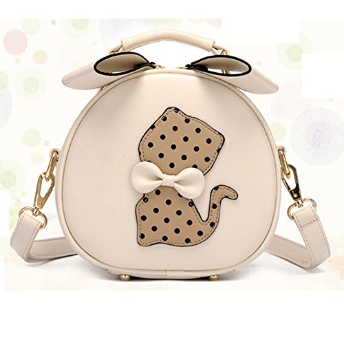 Eyedow eKingdom Outdoor Small Round Bag Candy Color Cute Cat PU Leather Handbags Crossbody Shoulder - Store Online Gucci