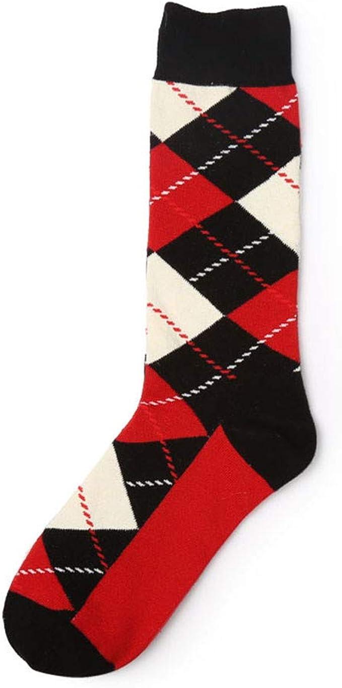 Men Winter Warm Retro Socks Personality Grid Contrast Color Cotton Socks