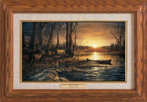 Morning Glow - Camping Framed Oak Master Stroke by Terry Redlin