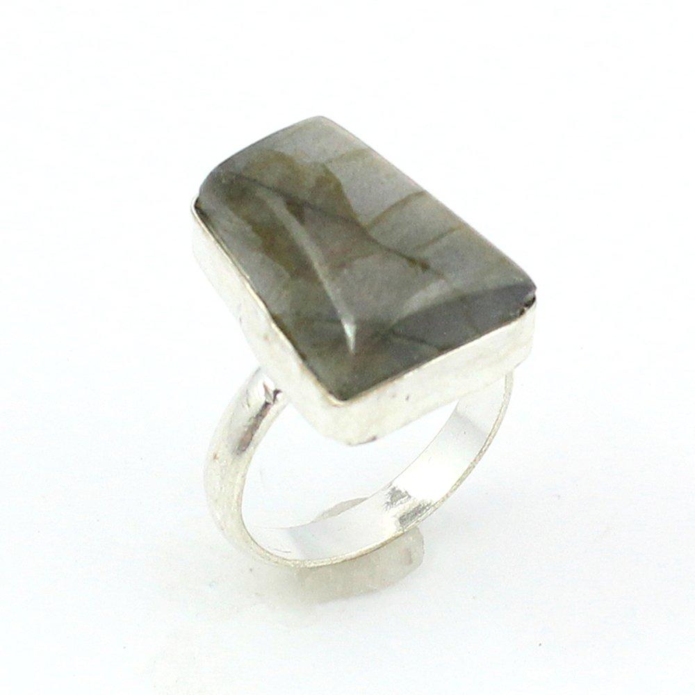 silverjewelgems LABRADORITE FASHION JEWELRY .925 SILVER PLATED RING S12479
