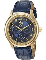 Invicta Mens Disney Limited Edition Quartz Gold-Tone and Leather Casual Watch, Color:Blue (Model: 25167)