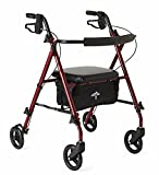 "Medline Freedom Lightweight Folding Aluminum Rollator Walker with 6"" Wheels, Adjustable Arms and Seat, Burgundy"