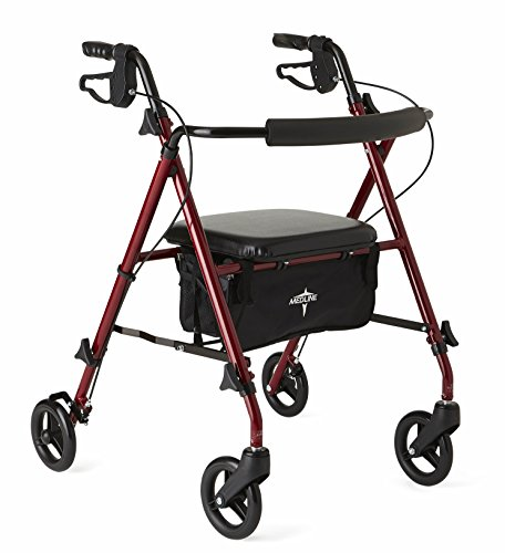 Medline Freedom Mobility Lightweight Folding Aluminum Rollator Walker with 6-inch Wheels, Adjustable Seat and Arms, Burgundy - Lightweight Wheel