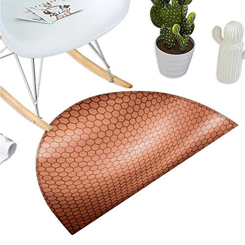 (Abstract Semicircle Doormat Hexagonal Comb Mesh Pattern with Abstract Wave Motion Effect Geometric Image Print Entry Door Mat H 35.4