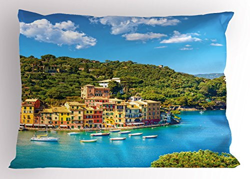 Ambesonne Italy Pillow Sham, Portofino Landmark Aerial Panoramic View Village and Yacht Little Bay Harbor, Decorative Standard Queen Size Printed Pillowcase, 30 X 20 Inches, Blue Green Yellow