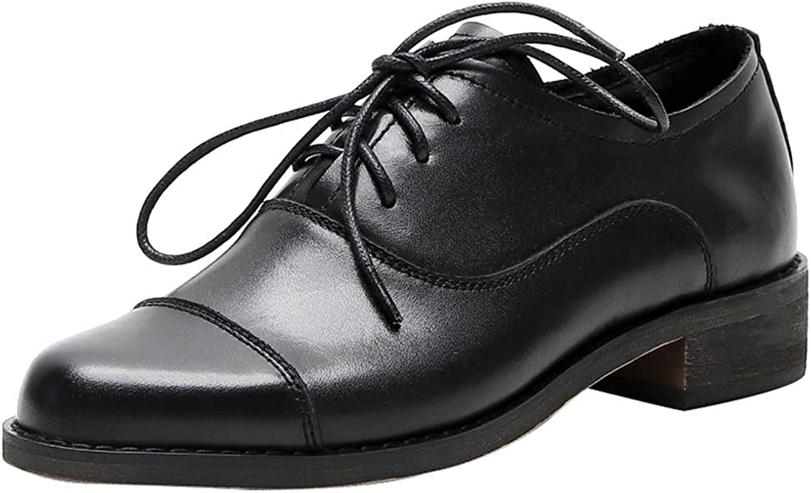 Brogue Lace-up Leather Oxfords