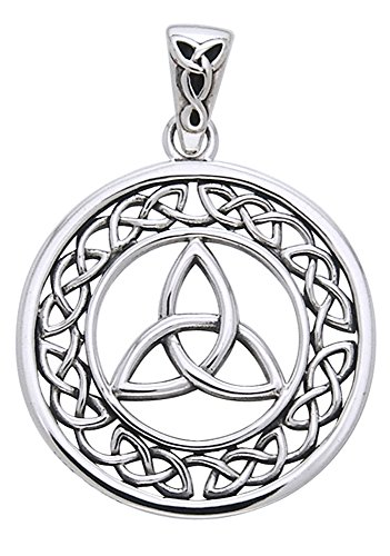 Jewelry Trends Sterling Silver Celtic Border Trinity Knot Round Pendant