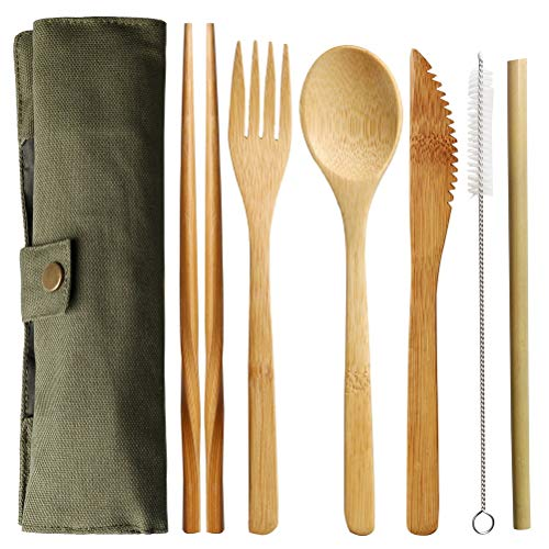 pengxiaomei Bamboo Utensil Set, Reusable Bamboo Travel Cutlery Eco Friendly Flatware Set Include Knife Fork Spoon Chopsticks and Straws eco Friendly Cutlery