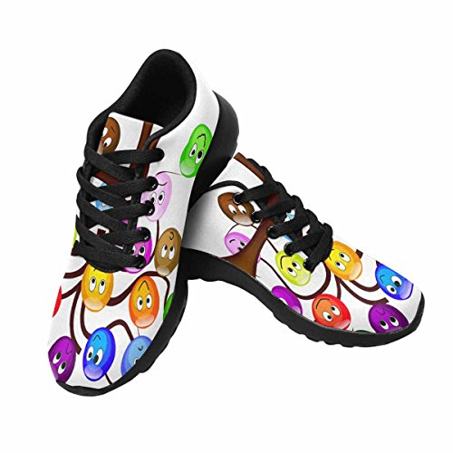InterestPrint Womens Trail Running Shoes Jogging Lightweight Sports Walking Athletic Sneakers Nice Tree With colorful SMILIES With Different Expression Multi 1 G3kOtXh35