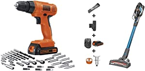 BLACK+DECKER 20V MAX Cordless Drill/Driver Kit with POWERSERIES Extreme Cordless Stick Vacuum, Blue (LD120VA & BSV2020G)
