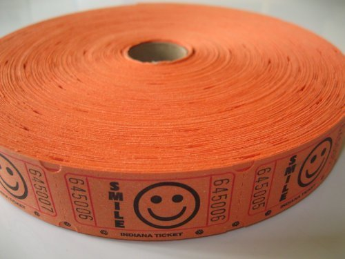2000 Orange Smile Single Roll Consecutively Numbered Raffle Tickets
