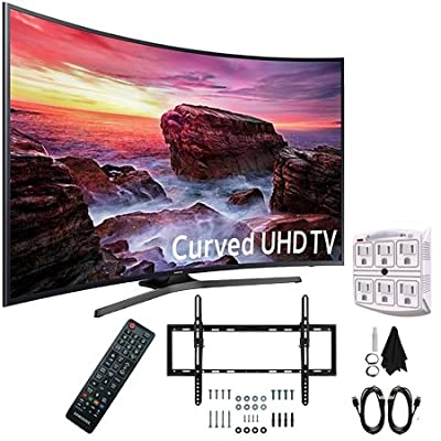 """Samsung UN55MU6490FXZA Curved 54.6"""" LED 4K UHD 6 Series Smart TV (2017) with Flat and Tilt Wall Mount Bundle, Two (2) 6 Foot HDMI Cables, and a Six Outlet Surge Adapter"""