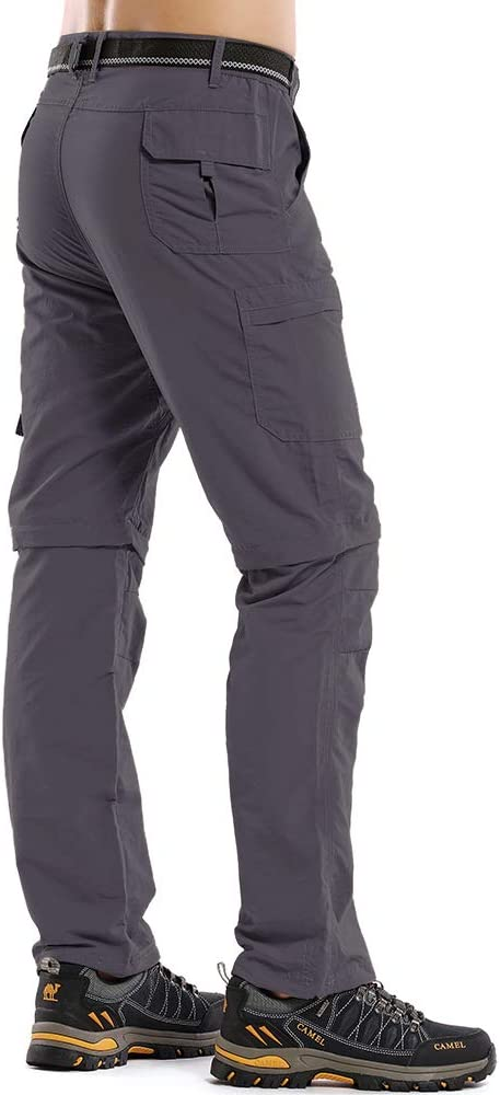 Asfixiado Mens Convertible Hiking Pants,Outdoor Quick Dry Fishing Lightweight Zip Off Travel Trousers #225
