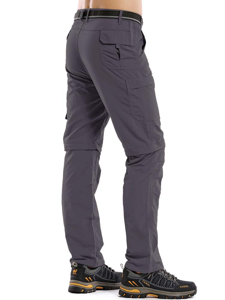 Asfixiado Hiking Pants Mens,Convertible Quick Drying Lightweight Moisture Wicking Sun Protection Cargo Bottoms
