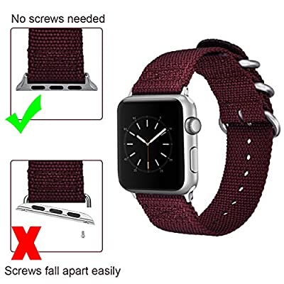 For Apple Watch Bands, VIGOSS Woven Nylon NATO iWatch Band Soft Replacement Strap with Metal Buckle for Apple Watch Series 3 Series 2 and Series 1, Sport, Hermes, Nike+, Edition