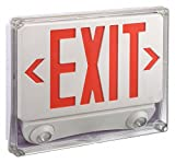 1 Face LED Exit Sign with Emergency Lights, White Plastic Housing, Red Letter Color