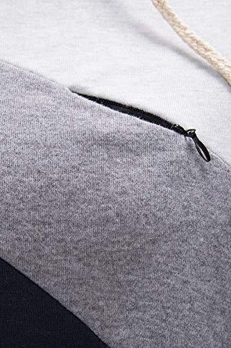 zip Donna lunga EC inverno l'allattamento per Grigio AOWEI con cappuccio felpa manica A01TnBTxq