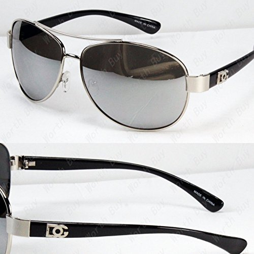 New DG Eyewear Aviator Fashion Designer Sunglasses Shades Mens Women Black Mirrored Lens (Aviator Sunglasses Dg)