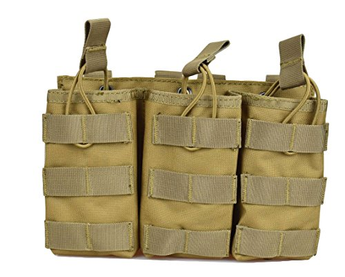 M16 Single (Jadedragon Tactical Airsoft MOLLE Triple Double Single Mag Pouch Holder For M4 M16 AR-15 Magazine (Open Top Version - Triple tan))