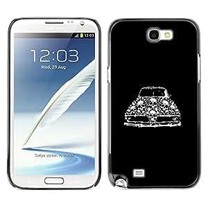 LECELL--Funda protectora / Cubierta / Piel For Samsung Galaxy Note 2 N7100 -- Retro Car Vintage Muscle Black Skull --