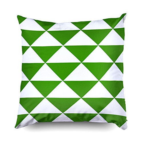TOMWISH Hidden Zippered Pillowcase grass green and white triangles 20X20Inch,Decorative Throw Custom Cotton Pillow Case Cushion Cover for Home Sofas,bedrooms,offices,and more -